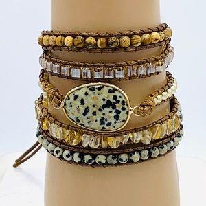 Dalmatian jasper boho bracelet. Wrap leather